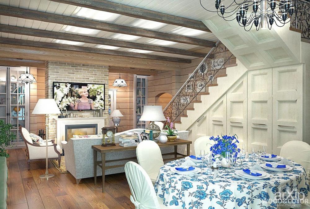 интерьеры деревянных домов в стиле прованс фото